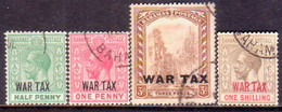 BAHAMAS 1918 SG #96-99 Compl.set Used Opt WAR TAX - 1859-1963 Crown Colony