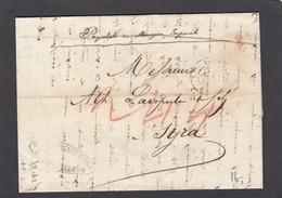 ,CACHET D'ARRIVEE 1856.LETTRE DE MARSEILLE PAR PAQUEBOT DES MESSAGERIES IMPÉRIALES POUR SYRA,GRECE.TAXEE A 244, - Poststempel (Briefe)