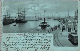 ! Alte Ansichtskarte Aus Malmö, Hamnen, Hafen, Harbour, Schweden, 1901, Raddampfer, Segelschiffe, Eisenbahngleise - Schweden