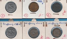 DEUTSCHES REICH LOT MONNAIES 6 COINS 1900 - 1944 F - Coins & Banknotes