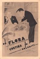 """0426 """"DA FLORA - CORTINA - DOLOMITI - ALBERGO E RISTORANTE - 1936 XIV""""  CART. ORIG. NON SPED. - Ristoranti"""