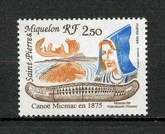 SPM MIQUELON 1990 N° 527 ** Neuf MNH Superbe C 1,25 € Bateaux Canoë Micmacboats Ships Transports Faune Elan - St.Pierre Et Miquelon