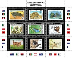 Sierra Leone 2019, Animals, WWF, Stamps On Stamps, Turtle, Wild Cat, Fishes, Bee-eater, Birds, 9val In BF - Félins