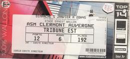 Billet STADE TOULOUSAIN - CLERMONT AUVERGNE Du 5 Janvier - Rugby