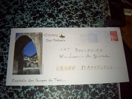 Enveloppe  Entier Postal  Pret A Poster  Illustrè OBLITÈRÈ Sainte Enimie  Capitale Des Gorges Du Tarn 30//01/01 - Postal Stamped Stationery