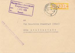 SCHWERIN  - 1958  ,  ZKD  ,   VEB BAU-UNION  -  Nach Stalinstadt (später Eisenhüttenstadt) - Dienstpost