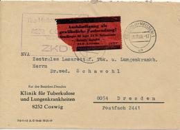 COSWIG - 1956 ,  ZKD  , Umschlag:  Klinik Für Tuberkulose Und Lungenkrankheiten - Nach Dresden - Medizin