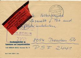 BERLIN-BUCH - 1966 ,  ZKD  , Umschlag:  Forschungsinstitut Für Tuberkulose Und Lungenkrankheiten - Nach Dresden - Medizin