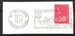 FRANCE. Flamme Sur Fragment Ayant Circulé En 1971. Plongeon/Colombes. - Kunst- Und Turmspringen