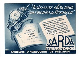 """PUBLICITÉ . """" SARDA """" . La Montre De Besançon - Réf. N°21706 - - Non Classés"""