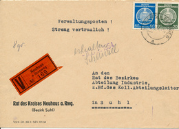 NEUHAUS   - 1954 ,  Dienstbrief  , Umschlag: Rat Des Kreises  -  Wert-Brief  Nach Suhl - [6] Democratic Republic