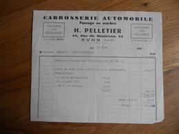 FACTURE AVON FONTAINEBLEAU CARROSSERIE AUTOMOBILE PELLETIER RUE DU MONTCEAU 1964 TB ETAT - 1950 - ...