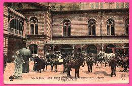 Mont Doré - Façade De L'Etablissement Thermal Et Place Aux Anes - Animée - Pub. AU JASMIN A. Cohadon - M.T.I.L. - 1910 - Burros