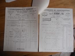 2 FACTURES ENTETES DIFFERENTES ETABLISSEMENTS DESADNAT PORT DE VALVINS AVON SEINE ET MARNE 1928/1932 TTB ETAT - France