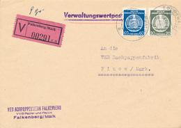 FALKENBERG  - 1956 ,  Dienstbrief  , Umschlag: Rohrpappenwerke  -  Wert-Brief  Nach Finow - [6] Democratic Republic