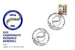 ITALIA - 1988 PARMA XXX Campionato Mondiale Baseball (pallina) Finale CUBA-STATI UNITI Su Busta Speciale - Francobolli