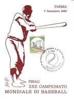 ITALIA - 1988 PARMA XXX Campionato Mondiale Baseball (pallina) Finale CUBA-STATI UNITI Su Cartolina Speciale - Francobolli