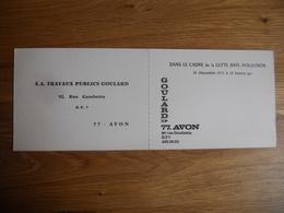 CARTON INVITATION DANS LE  CADRE LUTTE ANTIPOLLUTION 1971 MAISON GOULARD AVON FONTAINEBLEAU REUNION HOTEL DE LA FORET - 1950 - ...