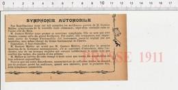 Presse 1911 Neuvième Symphonie De Gustave Mahler (Gustav) Trompe Automobile Klaxon 226K - Ohne Zuordnung