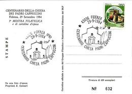 ITALIA - 1984 FIDENZA (PR)  Cent. Chiesa Dei Cappuccini - 3^ Mostra Filatelica Su Cartolina Speciale - Francobolli