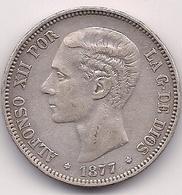 ESPAÑA - 5 PESETAS DE ALFONSO XII - DURO DE PLATA DE 1877 18*77* - [ 1] …-1931 : Kingdom