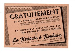 """PUBLICITÉ . """" LE BEL ALBUM D'ARTICLES TEXTILES """" . LA REDOUTE À ROUBAIX - Réf. N°21707 - - Habits & Linge D'époque"""