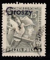 POLAND POLSKA 1950 GROSZY OVPT Type 23A WARSZAWA PURPLE Sc#486 Mi.667 USED STAMP - Oblitérés