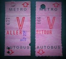 2 TICKETS Collection De CARTE HEBDOMADAIRE De TRANSPORT ,  Aller Et Retour  RATP - METRO - AUTOBUS - Metro