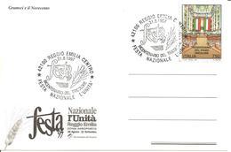 ITALIA - 1997 REGGIO EMILIA  Festa Nazionale Dell'Unità - Bicentenario Del Tricolore Su Cartolina Speciale GRAMSCI - Francobolli