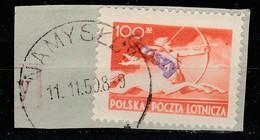 POLAND POLSKA 1950 GROSZY OVPT Type 26A WROCLAW PURPLE Mi.590 Sc#C26 USED CUTOUT, USED IN NAMYSLOW - Oblitérés