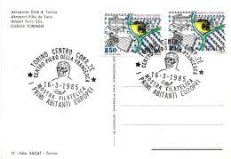 "ITALIA - 1985 TORINO Mostra ""i Primi Abitanti Europei"" - Cranio Del Primo Uomo Italico Su Cartolina Illustrata - Francobolli"