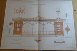 Planche N 23 - Le Charpentier Serrurier Au XIX E Siècle - Station De Voitures Publiques (tramways) - Architecture