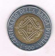 500 LIRE 1993   ITALIE /3593/ - 1946-… : République