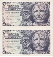 PAREJA CORRELATIVA DE 5 PTAS DEL AÑO 1947 DE SENECA SERIE A (SIN CIRCULAR - UNCIRCULATED) - [ 3] 1936-1975 : Régimen De Franco