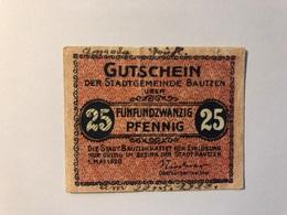 Allemagne Notgeld Bautzen 25 Pfennig - [ 3] 1918-1933 : République De Weimar