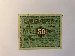 Allemagne Notgeld Bautzen 50 Pfennig - [ 3] 1918-1933 : République De Weimar
