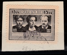 POLAND 1950 GROSZY OVPT Typ21 LILAC-RED SZCZECIN1 (STARGARD) Mi.578A USED ON CUTOUT - Oblitérés
