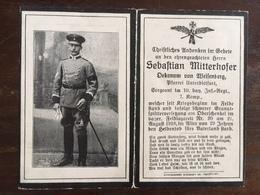 Sterbebild Wk1 Ww1 Bidprentje Avis Décès Deathcard IR10 August 1918 Aus Weisenberg - 1914-18