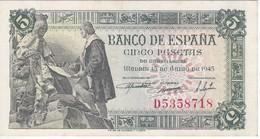 BILLETE DE ESPAÑA DE 5 PTAS DEL 15/06/1945 SERIE D CALIDAD EBC (XF) (BANKNOTE) - [ 3] 1936-1975 : Régimen De Franco
