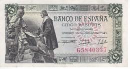 BILLETE DE ESPAÑA DE 5 PTAS DEL 15/06/1945 SERIE G CALIDAD EBC (XF) (BANKNOTE) - [ 3] 1936-1975 : Régimen De Franco