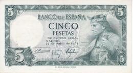 BILLETE DE 5 PTAS DEL AÑO 1954 SIN SERIE  DE ALFONSO X CALIDAD EBC (XF)  (RARO)(BANKNOTE) - [ 3] 1936-1975 : Régence De Franco