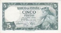 BILLETE DE 5 PTAS DEL AÑO 1954 SIN SERIE  DE ALFONSO X SIN CIRCULAR-UNCIRCULATED (RARO)(BANKNOTE) - [ 3] 1936-1975 : Régimen De Franco