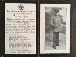 Sterbebild Wk1 Ww1 Bidprentje Avis Décès Deathcard 1. Fuss AR NOYERS PONT MAUGIS Block B Grab 1719 Aus Landsham - 1914-18