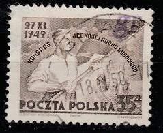 "POLAND 1950 GROSZY ""gr"" OVPT Type 41 PILA 2 PURPLE Mi.645 USED STAMP, RARE! - 1944-.... Republic"