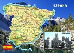 Spain Country Map New Postcard España - Spagna
