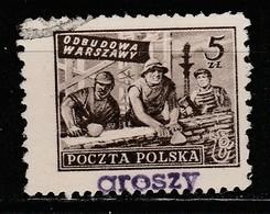 POLAND POLSKA 1950 GROSZY OVPT Type 2A GDANSK PURPLE Mi.659 Sc#471 USED STAMP - Oblitérés