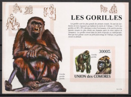Comores - 2009 - Bloc BF N°Yv. 160 - Gorilles - Non Dentelé / Imperf. - Neuf Luxe ** / MNH / Postfrisch - Cote YT 21€ - Gorilles