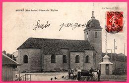 Auvet - Place De L'Eglise - Chevaux - Animée - Edit. Vve KARRER - Oblit. AUTREY + FOUCHERANS 1912 - France