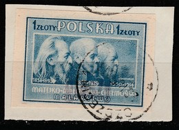 POLAND POLSKA 1950 GROSZY OVPT Type 21 SZCZECIN 1 PURPLE Mi.566B USED ON CUTOUT - Oblitérés