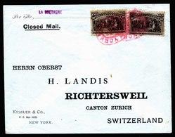 A6158) US Schwerer Brief New York 1893 N. Richtersweil / CH MeF 10c Columbus - 1847-99 Unionsausgaben